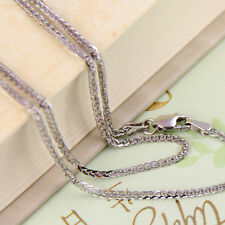 20INCH 18K White Gold Necklace 2mm Wheat Link Chain Stamp: Au750
