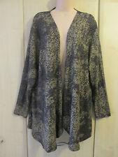 Womens Black Gold Michele Hope Sequin Print Drape Cardigan size 22/24  NEW/ BNWT