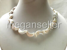 real nature white moon crescent freshwater pearl necklace 12-18mm necklace