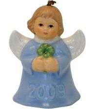 Goebel Angel Bell 2009 Annual Ornament NIB Blue Holding Clover 104146 NEW BOX