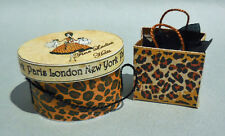 DOLLHOUSE MINIATURE ~ LEOPARD DESIGNER HAT BOX SET 1:12 by LORRAINE SCUDERI