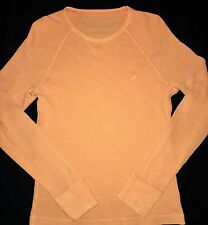 Men's American Eagle Medium M Orange Long Sleeve Thermal Shirt Waffle