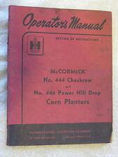 1955 IH McCORMICK 444 CHECKROW,446 POWER HILL DROP CORN PLANTER OPERATORS MANUAL