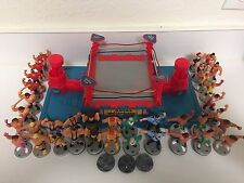 WWF Hasbro Royal Rumble Mini Ring Lot Bases Figure Joysticks WWE Wrestling WCW