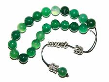 0007 - Loose Strung Greek Komboloi Prayer Beads 21 x 10mm - Green Agate Gemstone