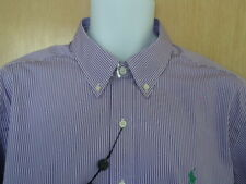 Polo Ralph Lauren Men's Striped Button-Down Shirt Purple/White Size 16.5 - 36/37