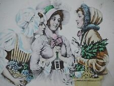 Vintage 1900 POSTCARD Ladies gossip visit at market place Best Friends!! shop