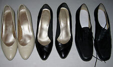 Lot of 3 Selby's Lady Shoes Beige Black Pump Oxford Heel Suede 5 & 5 1/2 M