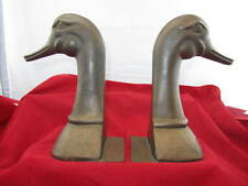 "Vintage Pair Duck Copper Or Bronze 10"" Bookends"