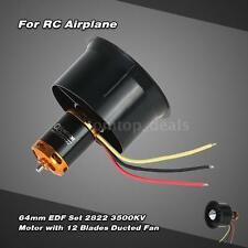 64mm EDF Set 2822 3500KV Motor with 12 Blades Ducted Fan for RC Helicopter I6E5