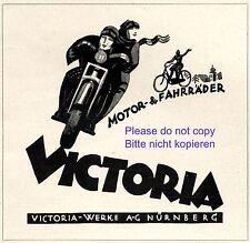 Motorrad Victoria Nürnberg Reklame 1923 Fahrrad Werbung +