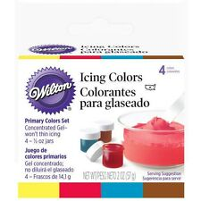 Wilton 4 Primary Icing Colors Set Kit Yellow Brown Red Blue Concentrate .5 oz