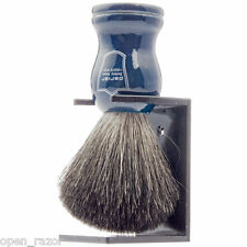 Parker Pure Badger Shaving Brush Blue Wood Handle