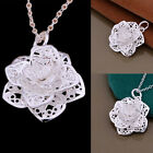 Women 925 Sterling Silver Plated Heart Flower Pendant Necklace Chain Jewelry NEW