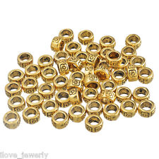 100PCs ILJ  Gold Carved Round Spacers Beads 4*7mm  big hole6mm