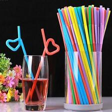 100 X Jumbo Straws Flexible Necks Multicoloured Drinking Milkshakes Parties