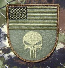 PUNISHER USA FLAG SHIELD TACTICAL ARMY FOREST VELCRO® BRAND FASTENER PATCH