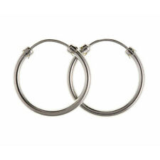 NEW 9ct White Gold 18mm Plain Capped Hoop Womens Earrings UK 375 Stamped