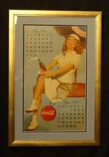 Beautiful rare 1949 calendar page tennis player curl Coca-Cola NOS advertising