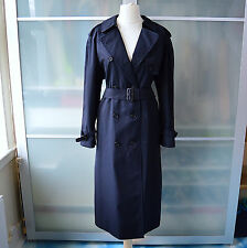 Burberrys' navy blue tartan trench coat / mac ~ UK 14 long ~ Burberry