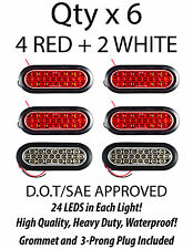 "6"" Inch Oval 24 LED Stop Turn Reverse Backup Tail Truck Light Kit- 4 Red+2 White"