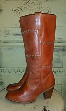VINTAGE 70'S LATINAS LEATHER HIGH HEEL COWBOY CAMPUS HIPPIE BOOTS GYPSY 7 M