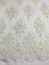 Ivory Marvelous Design Embroider And Beaded On A Mesh Lace -yard