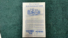 LIONEL # 54 TRACK BALLAST TAMPER  INSTRUCTIONS PHOTOCOPY