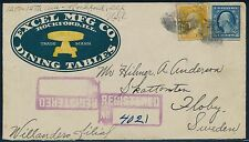 "#504, #510 ON ADVERT COVER 1921 ""EXCEL MFG Co. DINING TABLES"" TO SWEDEN BQ9808"