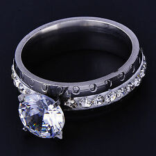 Classy White Gold Filled Clear CZ Womens Wedding engagement love Ring Size 7