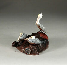 PELICAN TRIO Sculpture New direct from JOHN PERRY 5in long Brown Statue Art