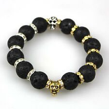 Fashion Men's Black Lava Stone Gold Skull Beaded Charm Rhinestone Bracelet Gift
