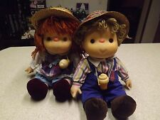 Lot 2 Vintage 1980 J SHIN Cloth Vinyl ICE CREAM DOLL Village Toys Hat Cone orig.