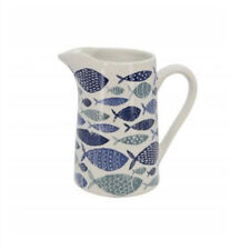 Gisela Graham - White and Blue Ceramic Nautical Fish Medium Jug 14.5x14x9.5cm