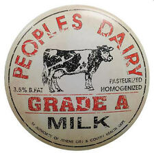 Ohio Wholesale Peoples Dairy Metal Vintage Style Milk Bottle Tin Lid Sign