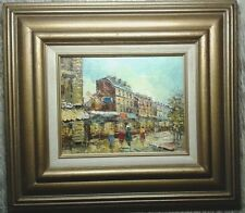 Mid-Century PARIS France Mulin Rouge P.G.TIELE Vintage Oil Canvas Painting Art