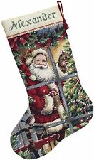 COUNTED CROSS STITCH Christmas Stocking KIT CANDY Cane Santa Dimensions 16""