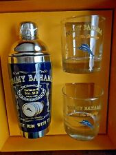 New in Box Tommy Bahama Rum Cocktail Shaker Mixer 3 Pc Set Glasses Bar Set