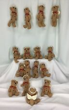 Angel Bears With Halos Set Of 16 Poseable With Buttons Red Ribbons And Sparkle