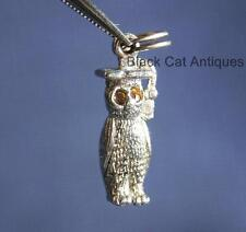 Unique Wise Old Owl in Graduation Cap Sterling Silver Charm w/Amber Colored Eyes