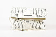 McQ Alexander McQueen White Leather Laser Cut SHW Fold Over Clutch Bag