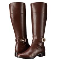 NIB New Michael Kors Women's Bryce Leather Tall Riding Boot Mocha Size 10