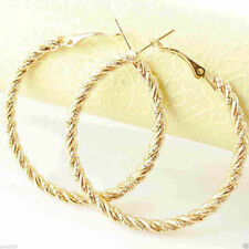 """Nice New 9k Yellow Gold Filled Large 2.25"""" Twisted Rope Round Hoop Earrings"""