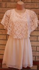 CANDY COUTURE NUDE BABY PINK LACE CAPE RUFFLE A LINE SKATER TEA DRESS 4 XXS
