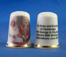 Birchcroft China Thimble -- Duke & Duchess of Cambridge with Family Queens 90th