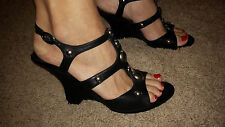 SeXy! ANN MARINO Black Open-Toe Studded Gladiator Wedge Heels Sandals Shoes 8M