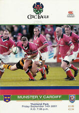 Munster v Cardiff 14 Sep 2001 Thomond Park, Limerick RUGBY PROGRAMME