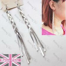 "PLAITED HERRINGBONE 6""long SLINKY CHAIN DROP EARRINGS white gold silver tone"