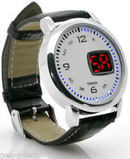 Classy White Dial Touch Wrist Watch: Leather Strap, LED Time & Date Display