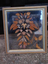 ANTIQUE EDWARDIAN PRESSED FLOWER OWL CLEAR GLASS PICTURE WALL HANGING